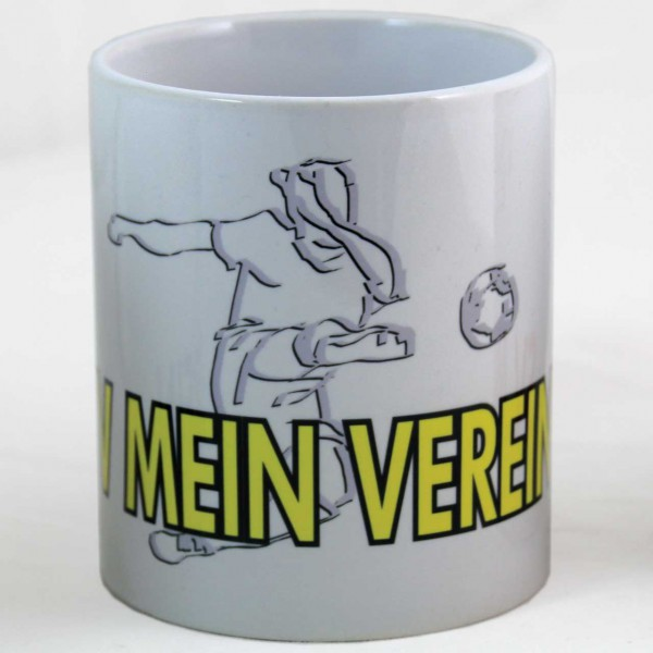 Tasse mit Fußball-Motiv und Vereinsname