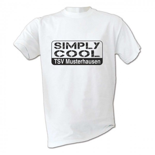 "Motiv T-Shirt ""Simply Cool""  weiß mit Vereinsname in Farbe"