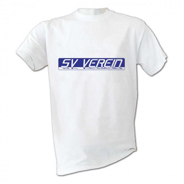 Motiv T-Shirt Mirror weiß mit Vereinsname in Farbe